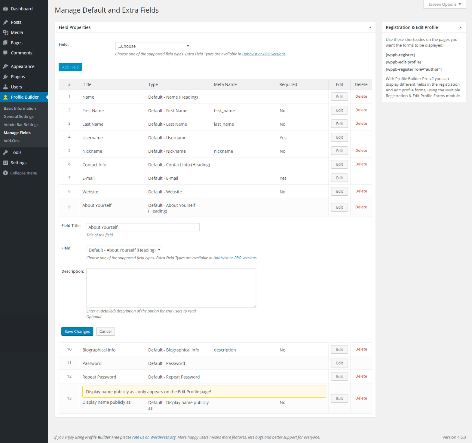 Profile Builder - Default About Yourself (Heading) Field Back End