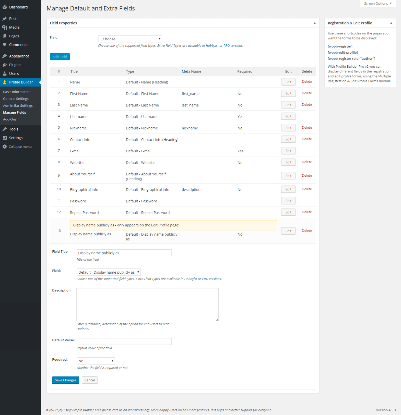 Profile Builder - Default Display name publicly as Field Back End
