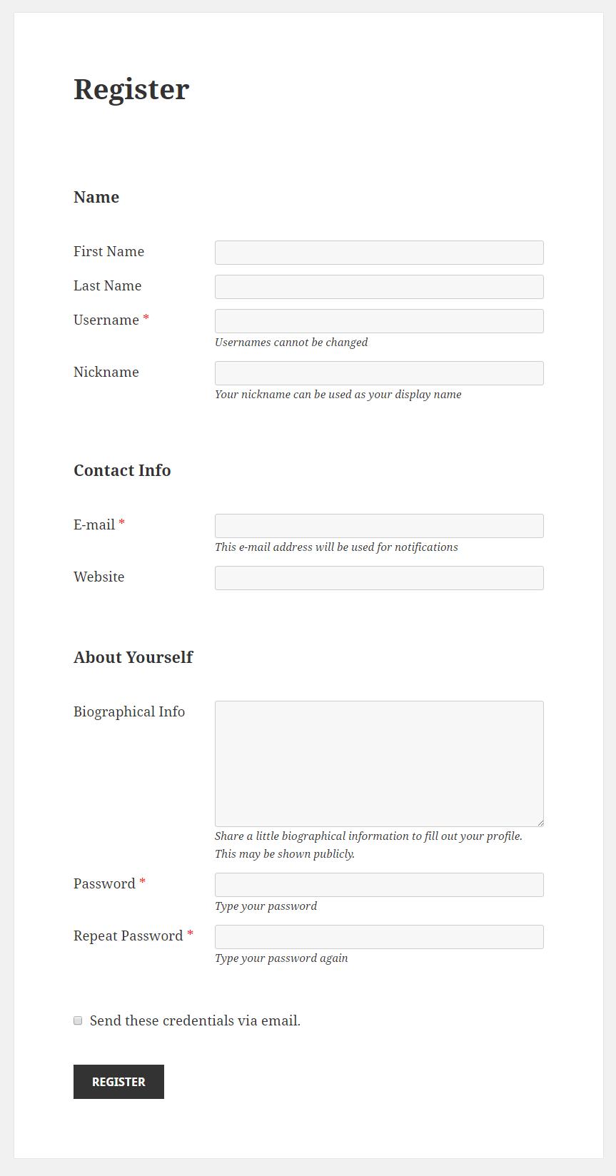 Profile Builder - Default Fields Types Front-End