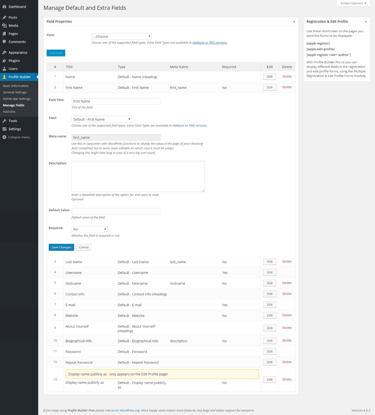 Profile Builder - Default First Name Field Back End
