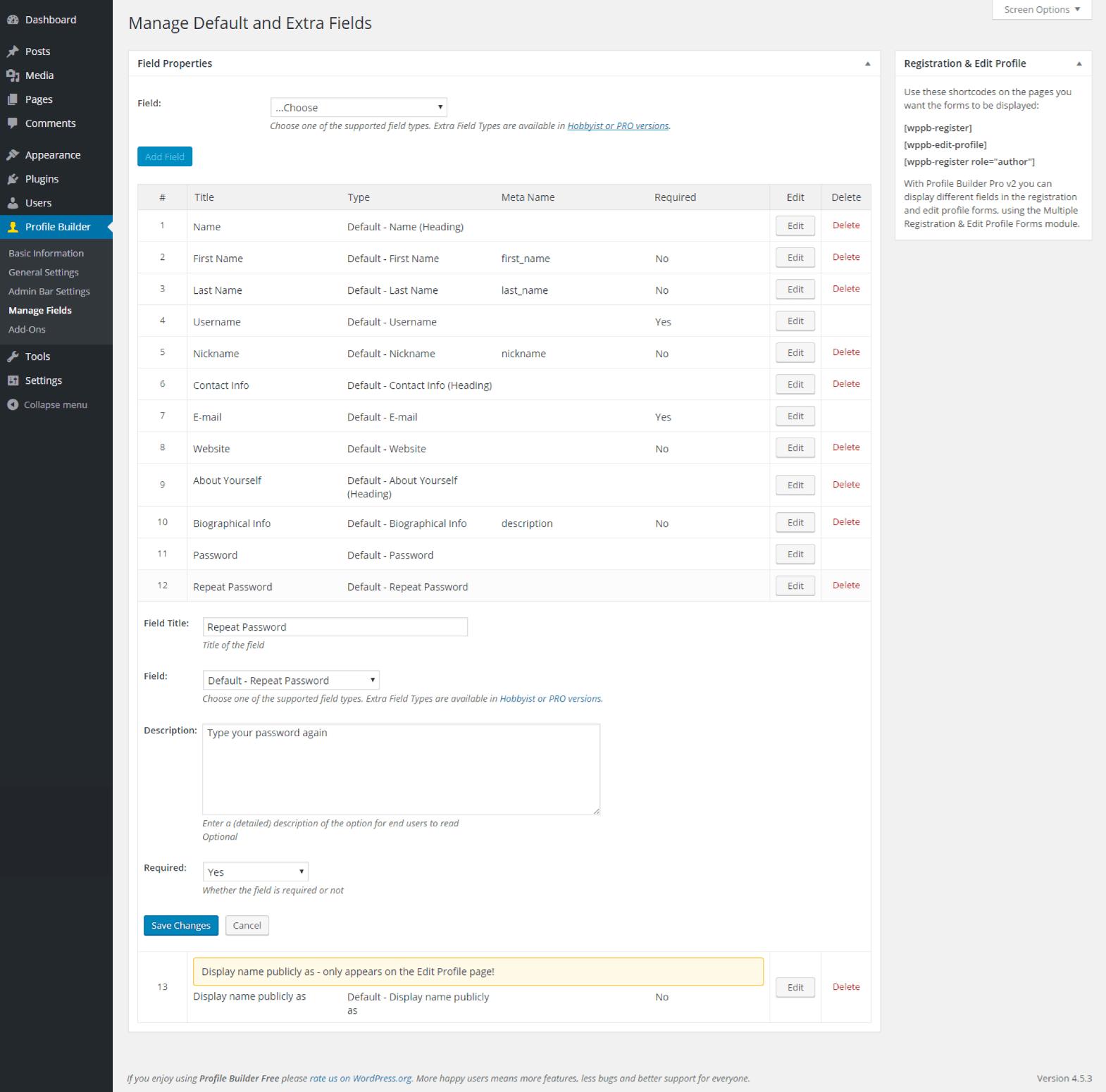 Profile Builder - Default Repeat Password Field Back End