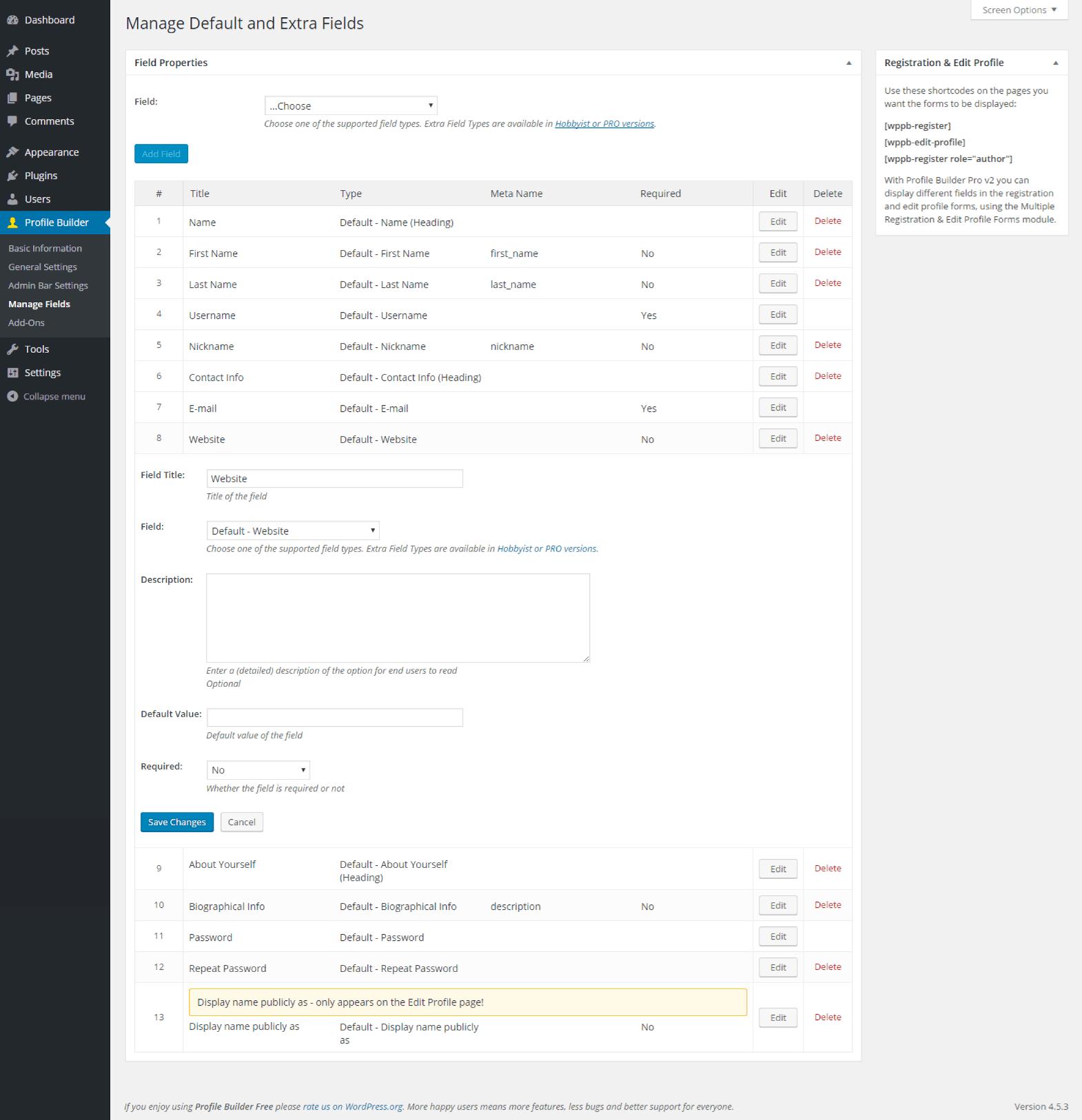 Profile Builder - Default Website Field Back End