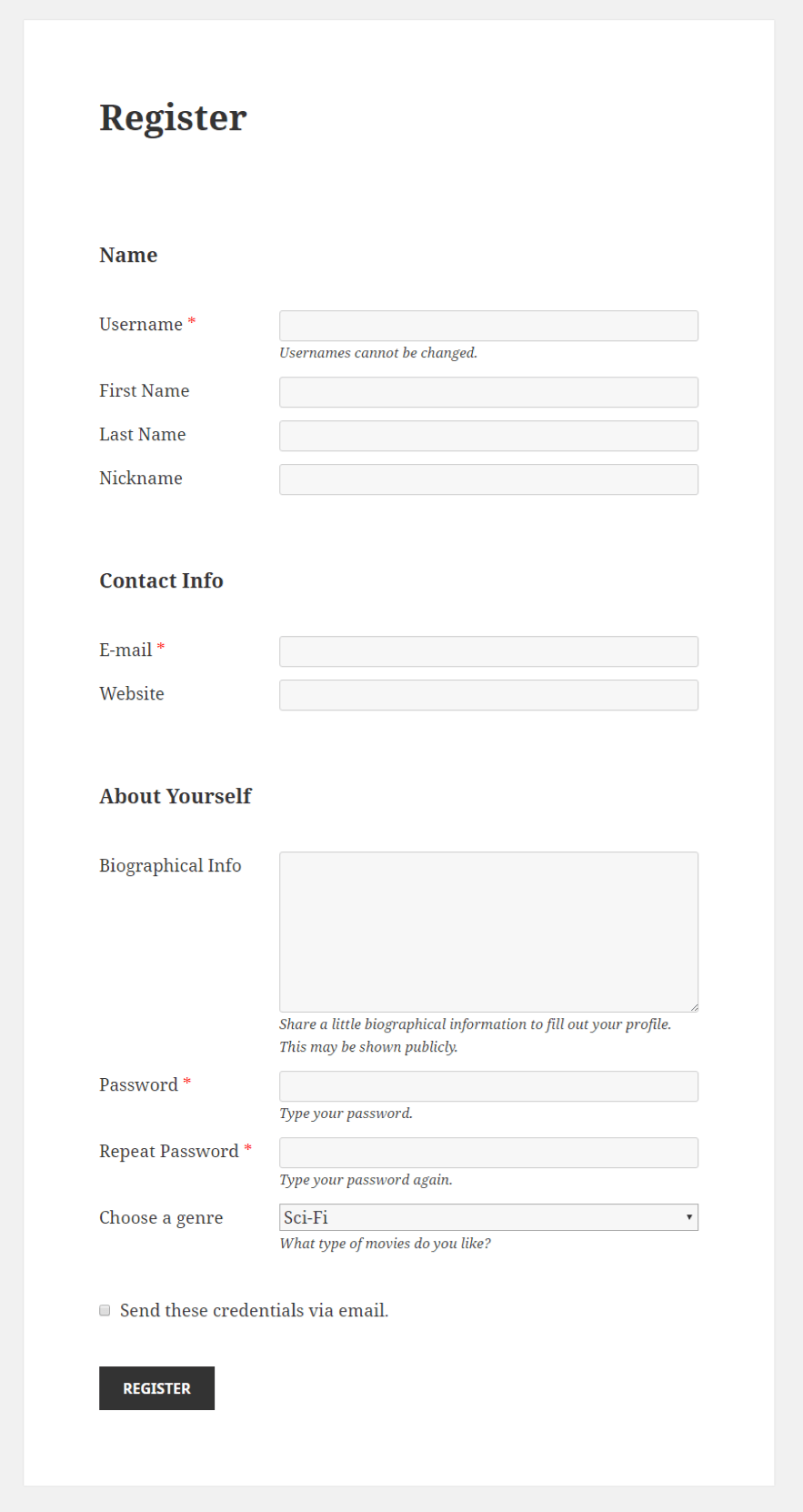Profile Builder - Select Field Front-End