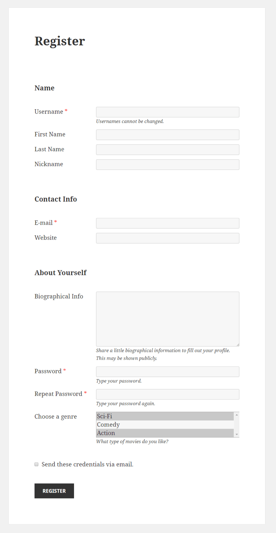 Profile Builder - Select (Multiple) Field Front-End