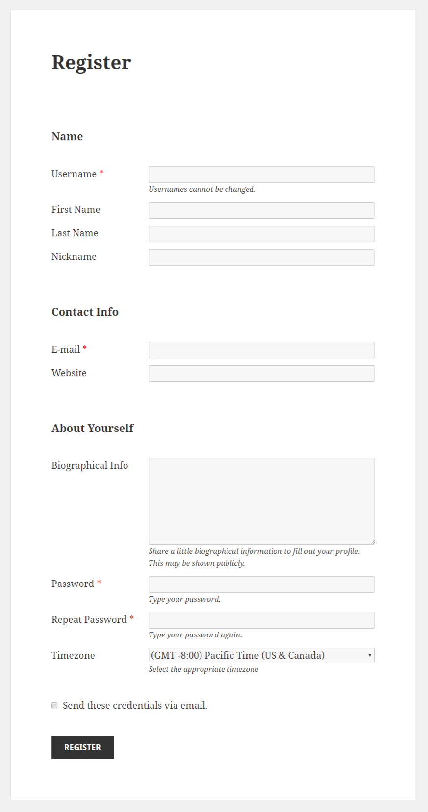 Profile Builder - Select (Timezone) Field Front-End