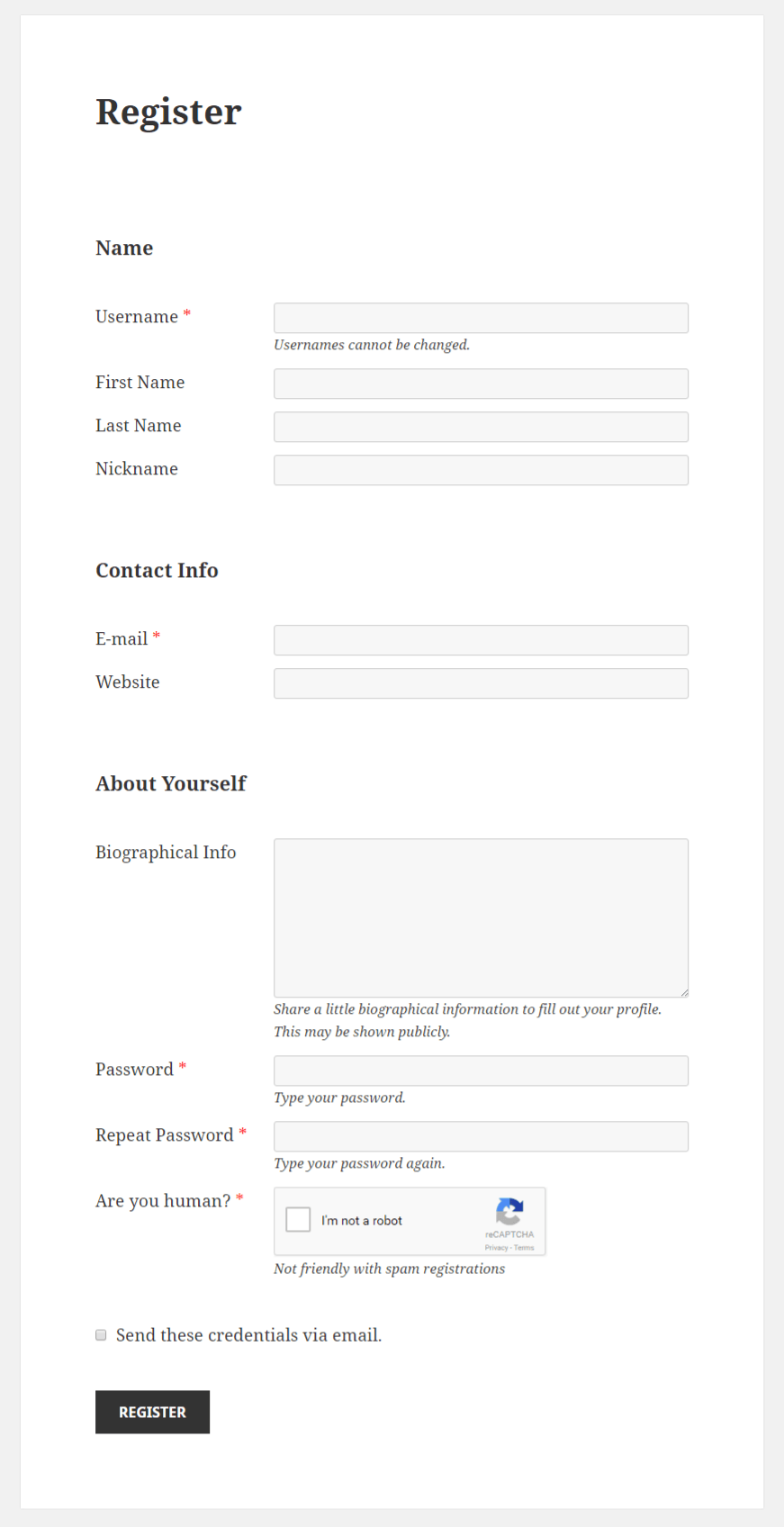 Profile Builder - reCAPTCHA Field Front-End