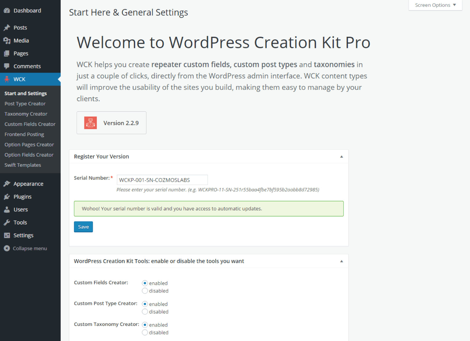 WordPress Creation Kit Basic Information & Installation - Register your Version