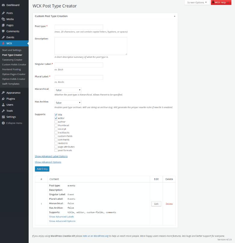 WordPress Creation Kit - Custom Post Type Creator - Features