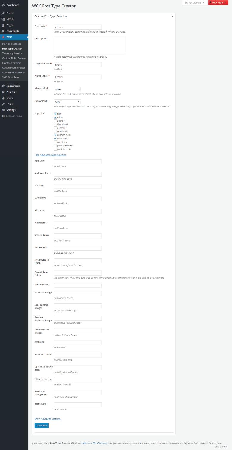 WordPress Creation Kit - Custom Post Type Creator - Labels
