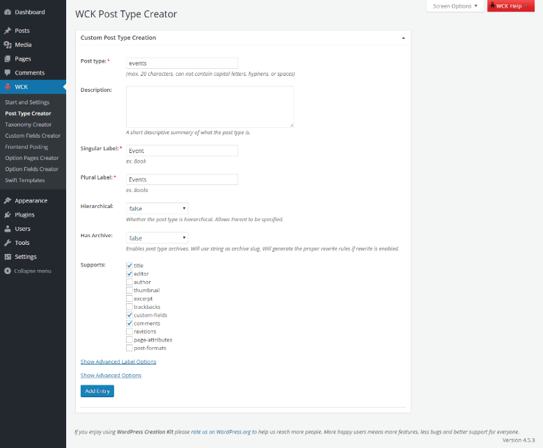 WordPress Creation Kit - Custom Post Type Creator - Overview
