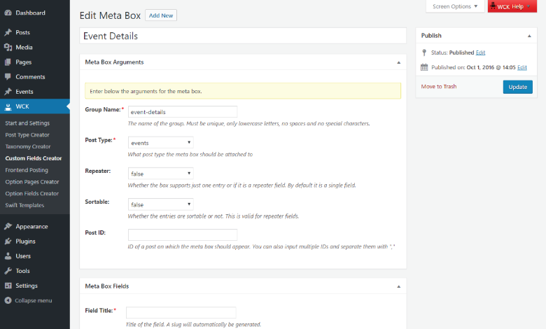 WordPress Creation Kit - Custom Fields Creator - Meta Box Arguments