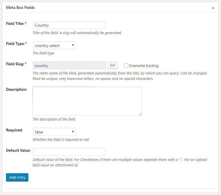 WordPress Creation Kit - Custom Fields Creator - Meta Box Fields - Country Select Field