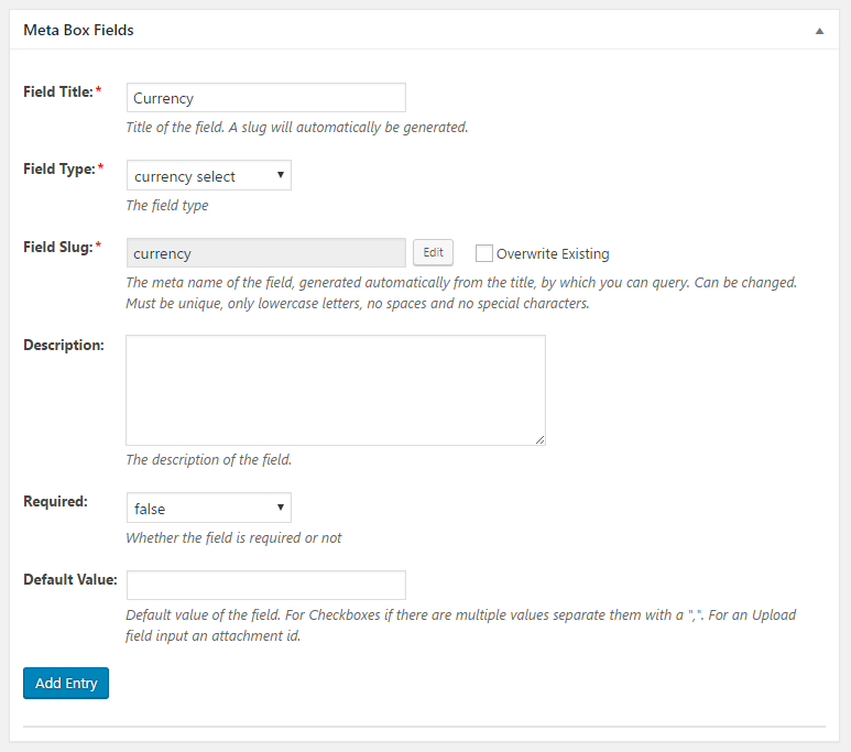 WordPress Creation Kit - Custom Fields Creator - Meta Box Fields - Currency Select Field