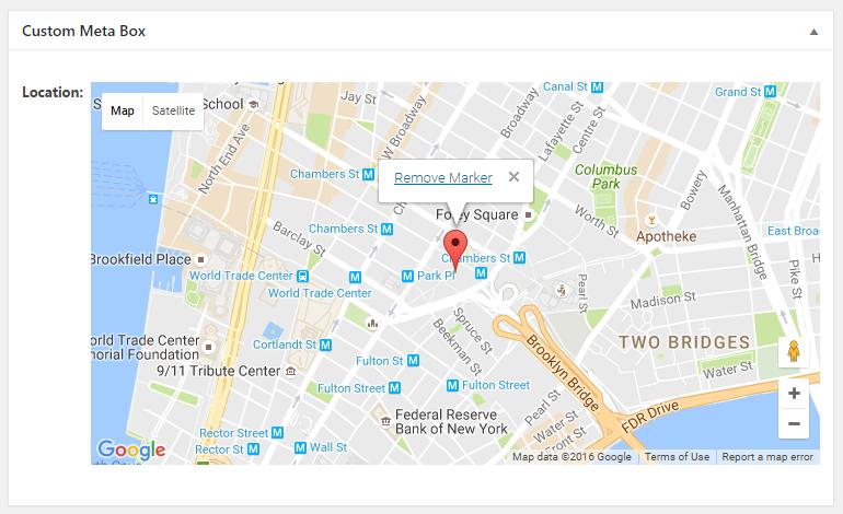 WordPress Creation Kit - Custom Fields Creator - Meta Box Fields - Map Field (Editor)
