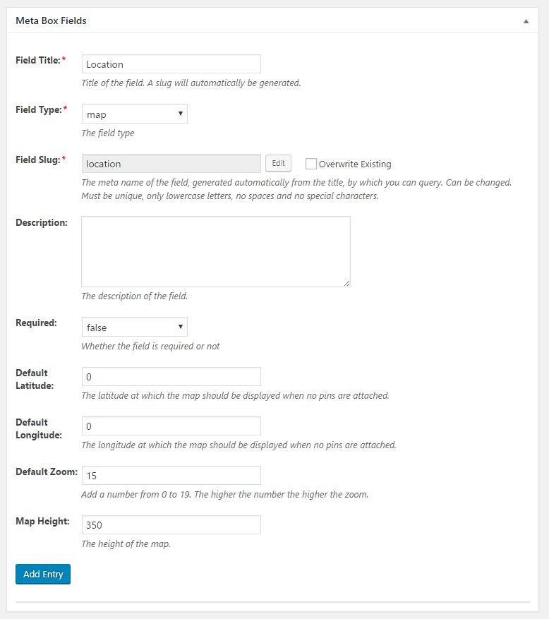 WordPress Creation Kit - Custom Fields Creator - Meta Box Fields - Map Field