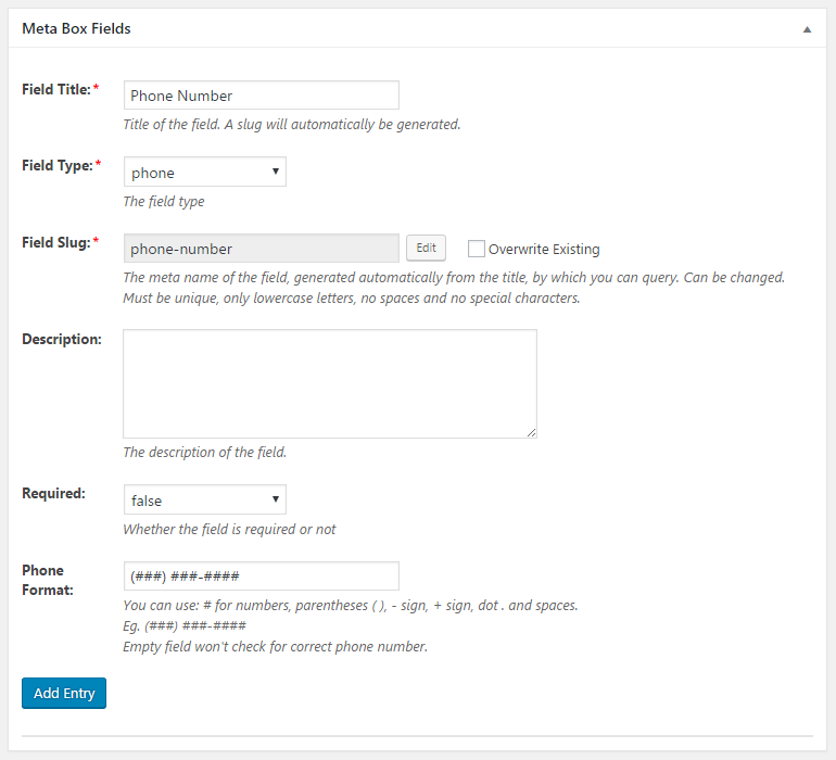 WordPress Creation Kit - Custom Fields Creator - Meta Box Fields - Phone Field
