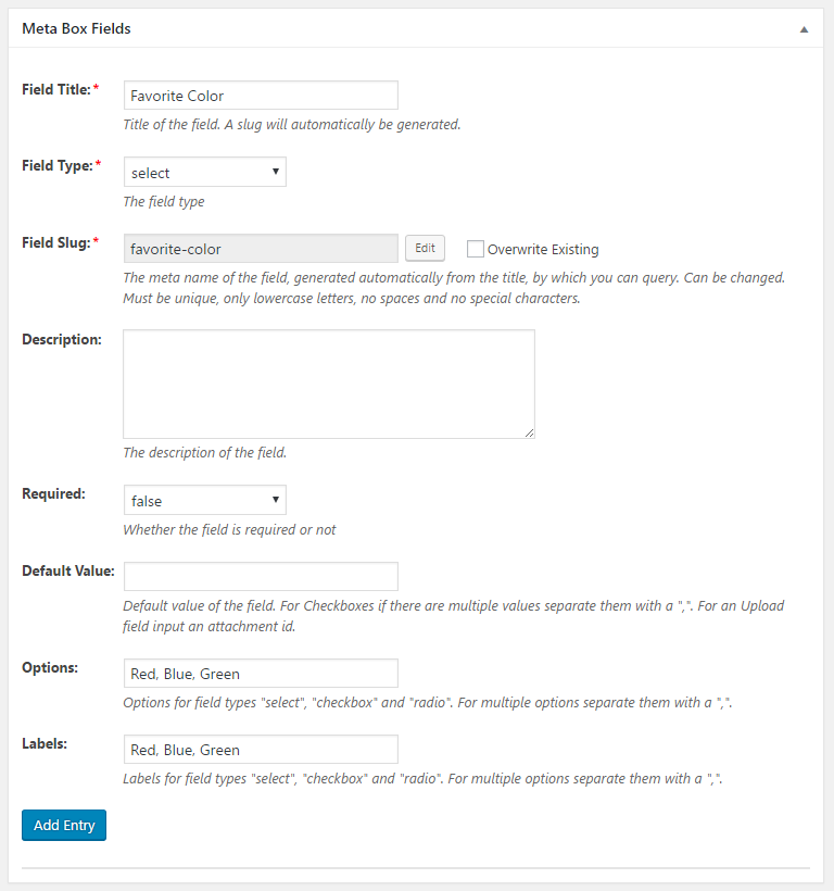 WordPress Creation Kit - Custom Fields Creator - Meta Box Fields - Select Field