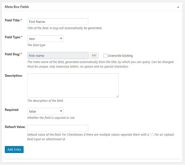 WordPress Creation Kit - Custom Fields Creator - Meta Box Fields - Text Field