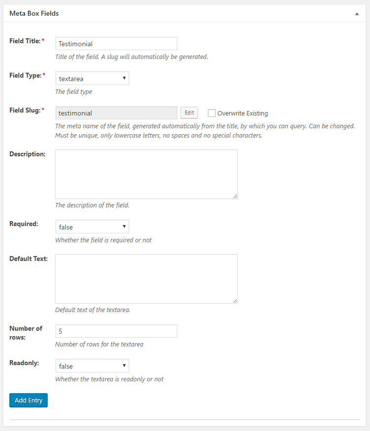 WordPress Creation Kit - Custom Fields Creator - Meta Box Fields - Textarea Field