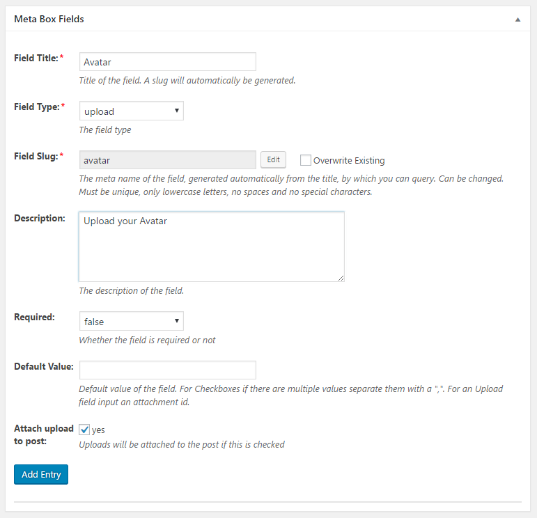 WordPress Creation Kit - Custom Fields Creator - Meta Box Fields - Upload Field