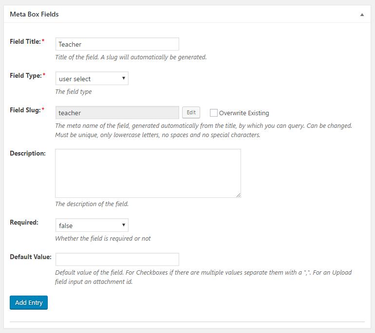 WordPress Creation Kit - Custom Fields Creator - Meta Box Fields - User Select Field