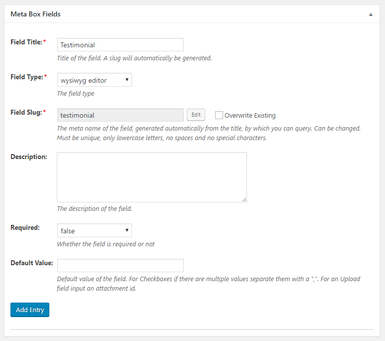 WordPress Creation Kit - Custom Fields Creator - Meta Box Fields - WYSIWYG Editor Field