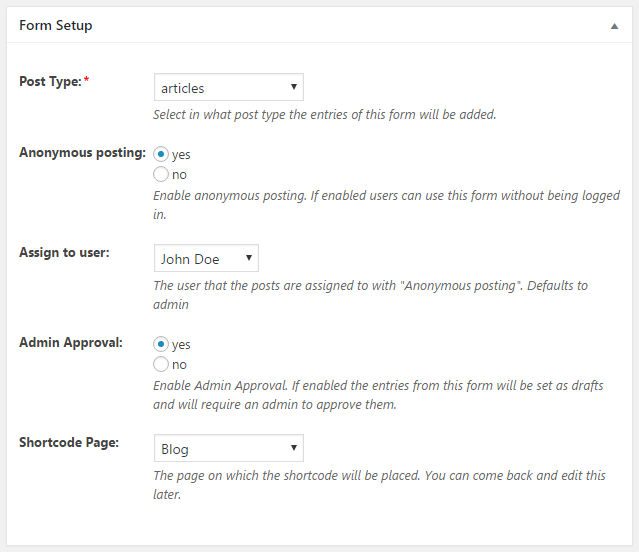 WordPress Creation Kit - Frontend Posting - Form Setup