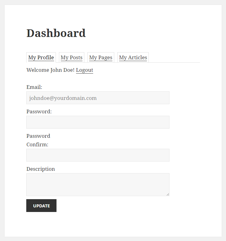 WordPress Creation Kit - Frontend Posting - Frontend Dashboard after Login