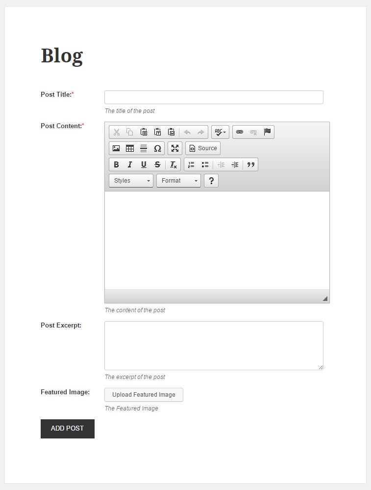 WordPress Creation Kit - Frontend Posting - Frontend Form
