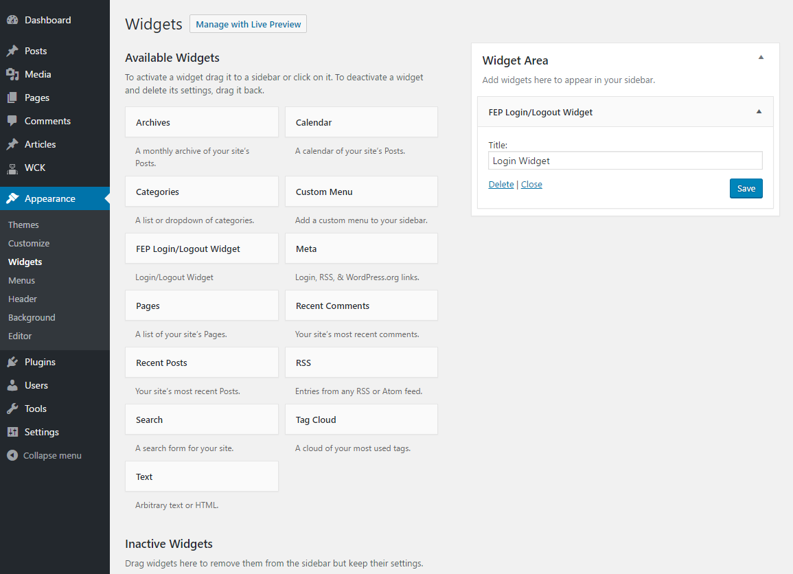 WordPress Creation Kit - Frontend Posting - Login Widget