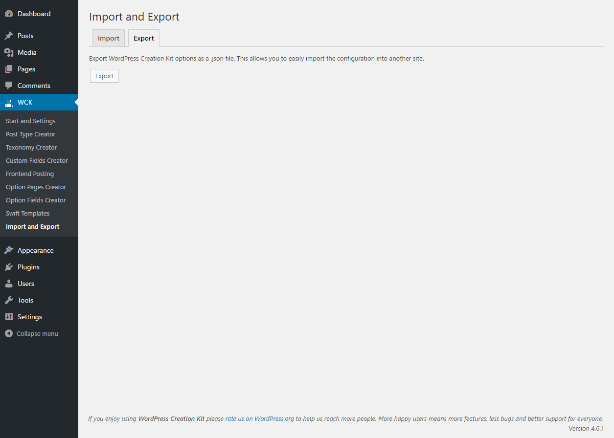 WordPress Creation Kit - Import and Export WCK  Settings - Import Tab