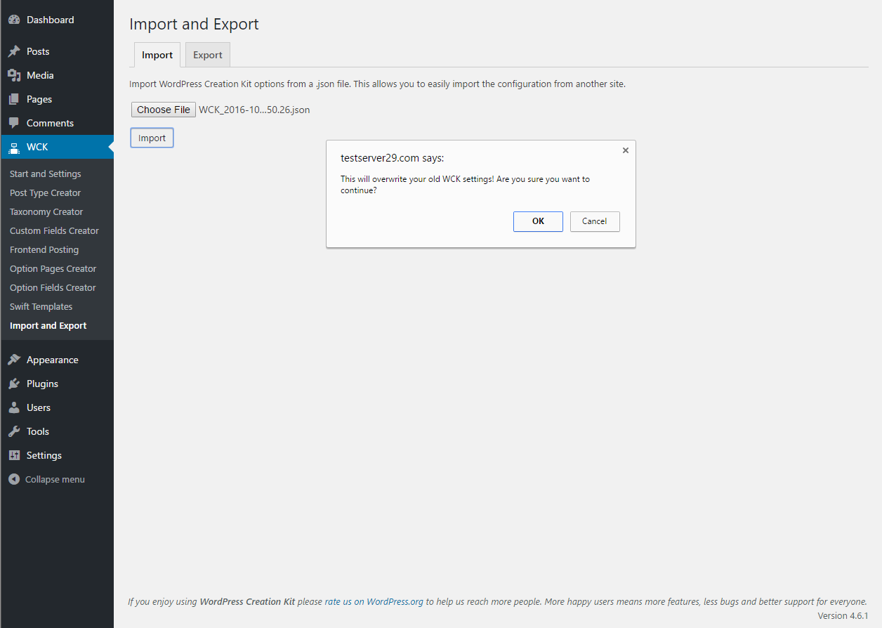 WordPress Creation Kit - Import and Export WCK  Settings - Import Tab Popup