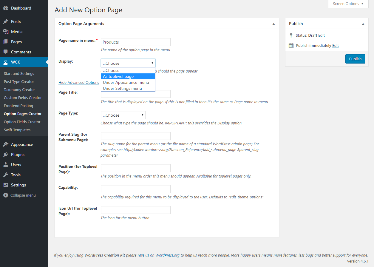 WordPress Creation Kit - Option Pages Creator - Option Page Arguments