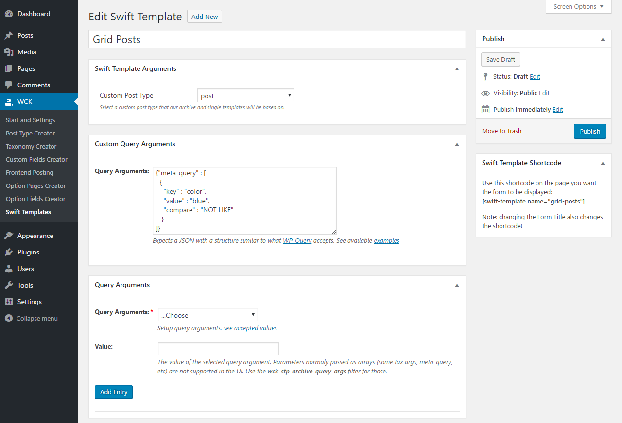 WordPress Creation Kit - Swift Templates - Custom Query Arguments tab