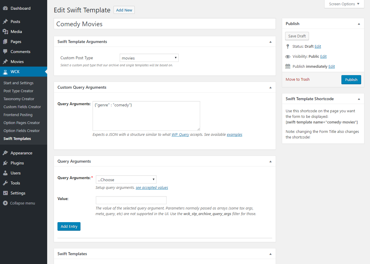 WordPress Creation Kit - Swift Templates - Custom Query Arguments