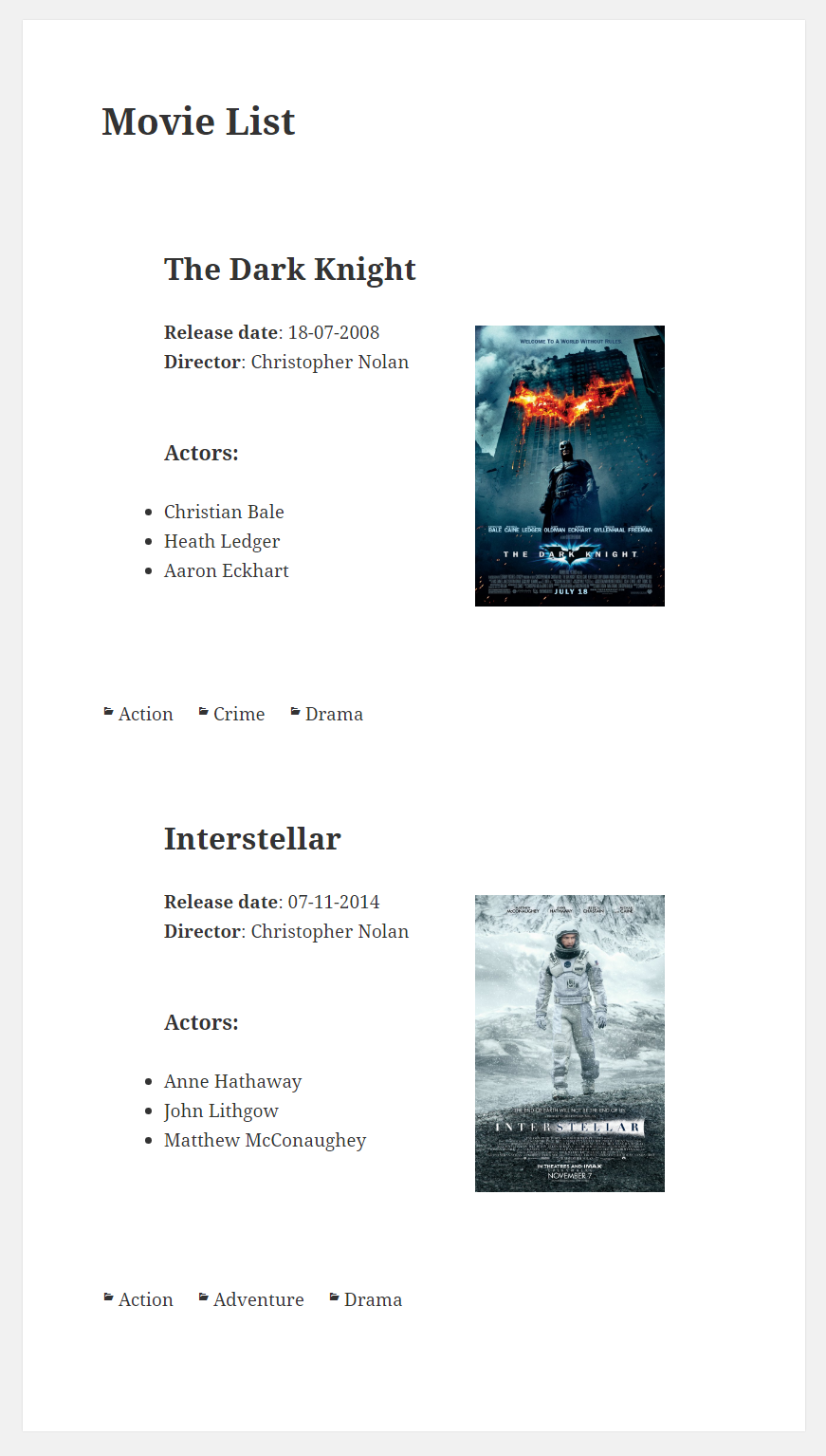WordPress Creation Kit - Swift Templates - Front End Movie List