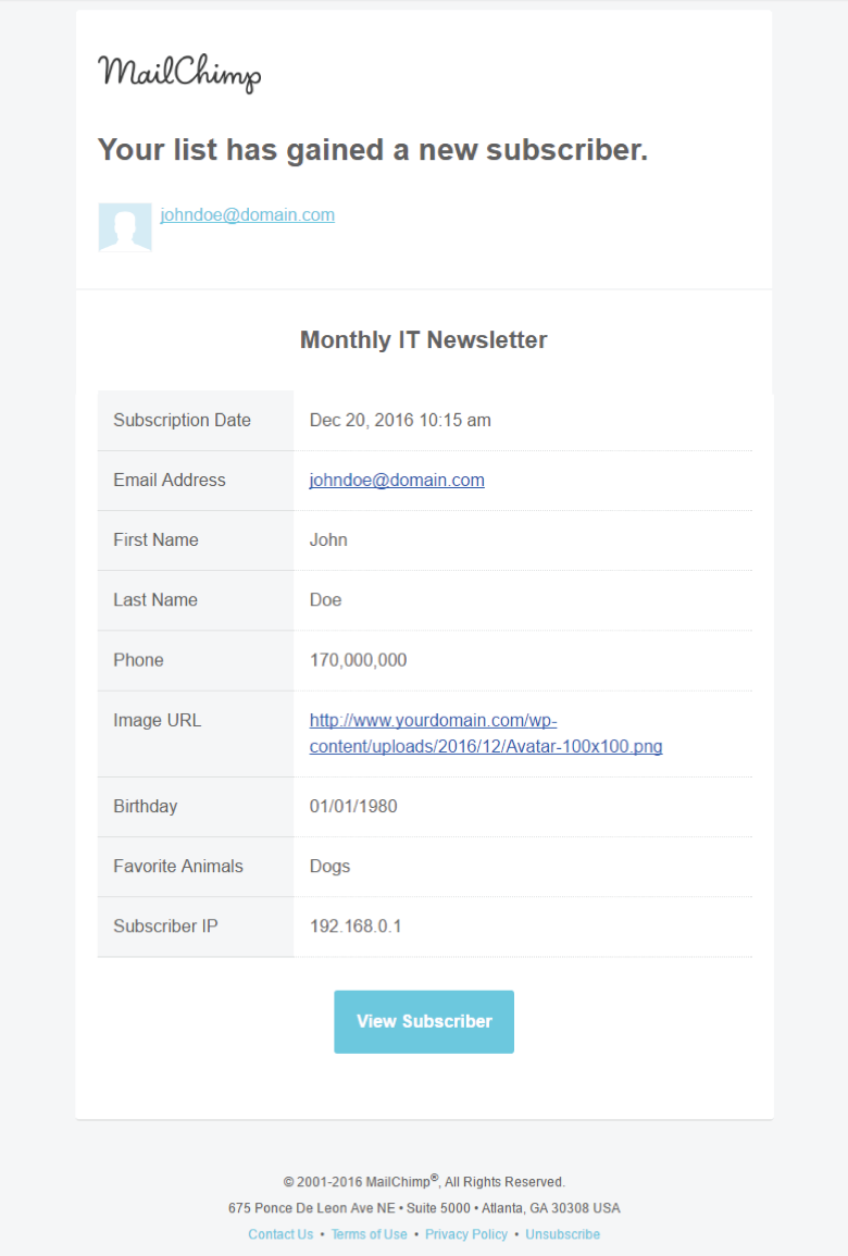 Profile Builder - MailChimp - Admin Email Notification