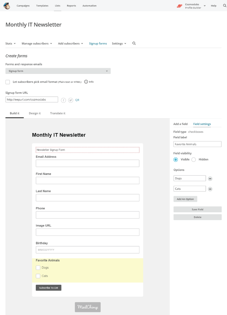 Profile Builder - MailChimp - Associate Groups