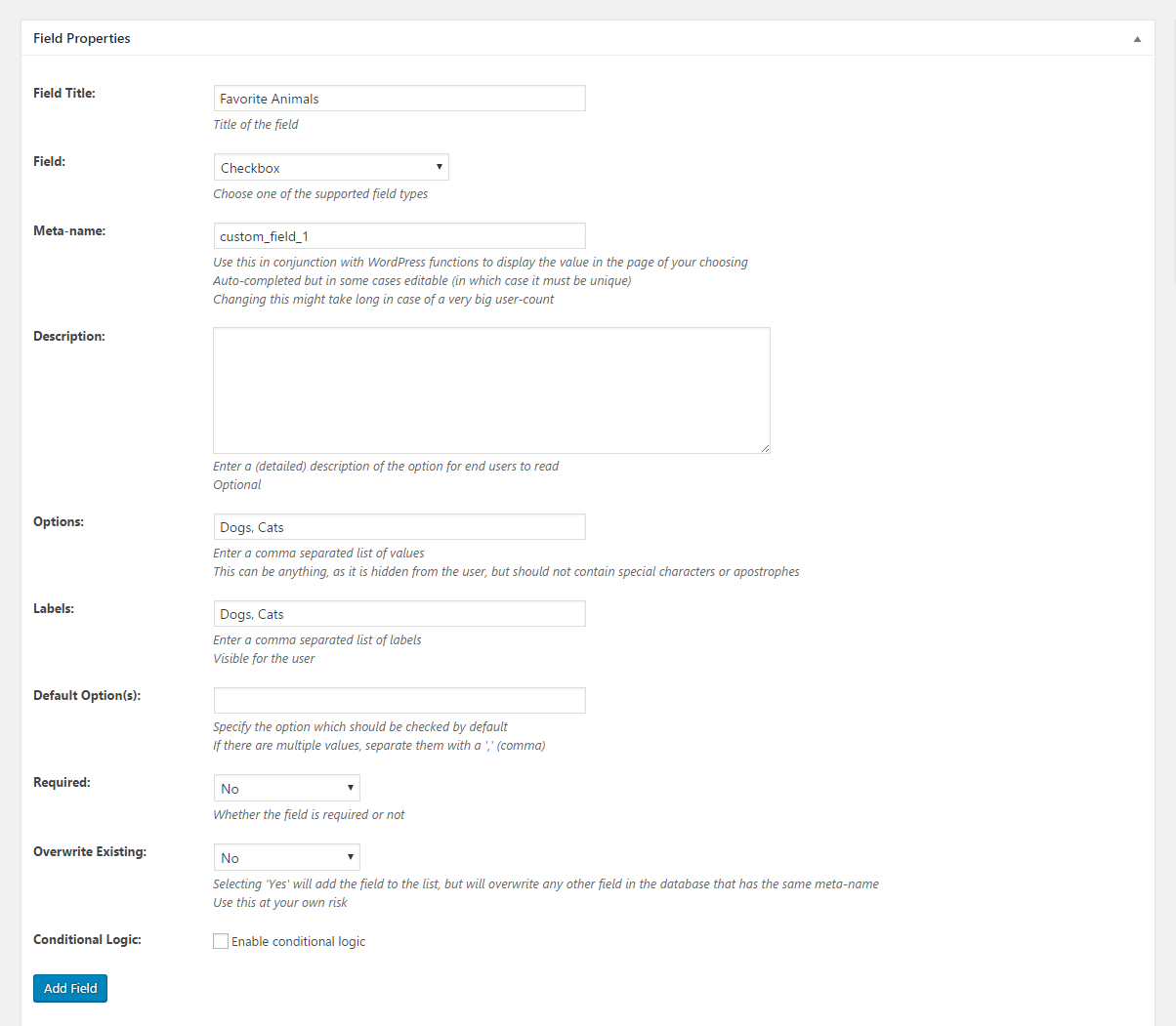 Profile Builder - MailChimp - Checkbox Field