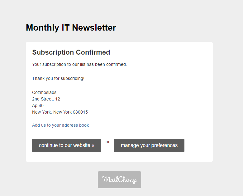Profile Builder - MailChimp - Subscription Confirmed