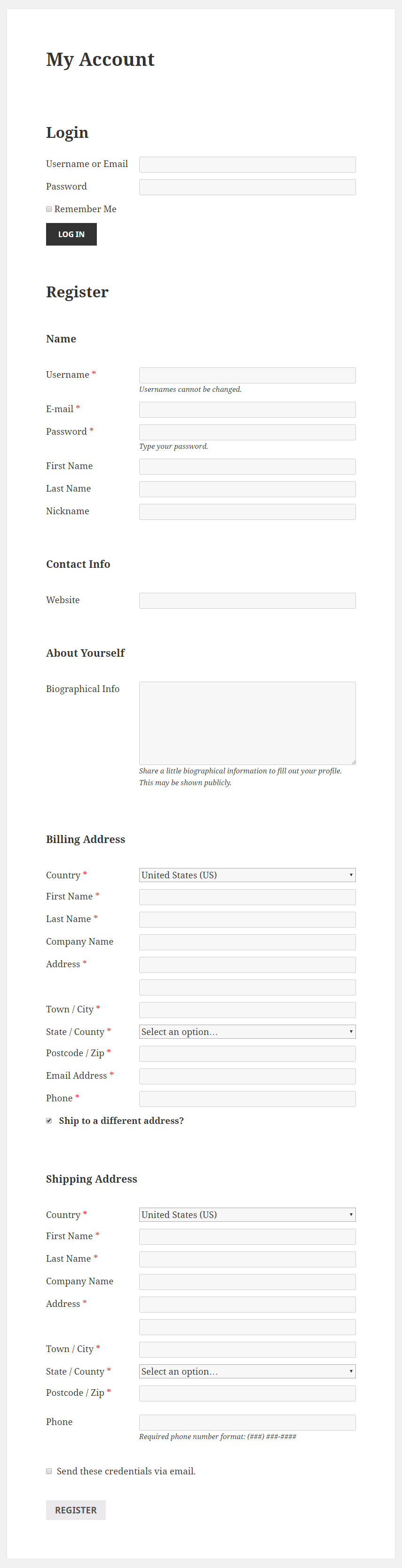 Profile Builder Pro - WooCommerce Sync - Register Form on My Account page