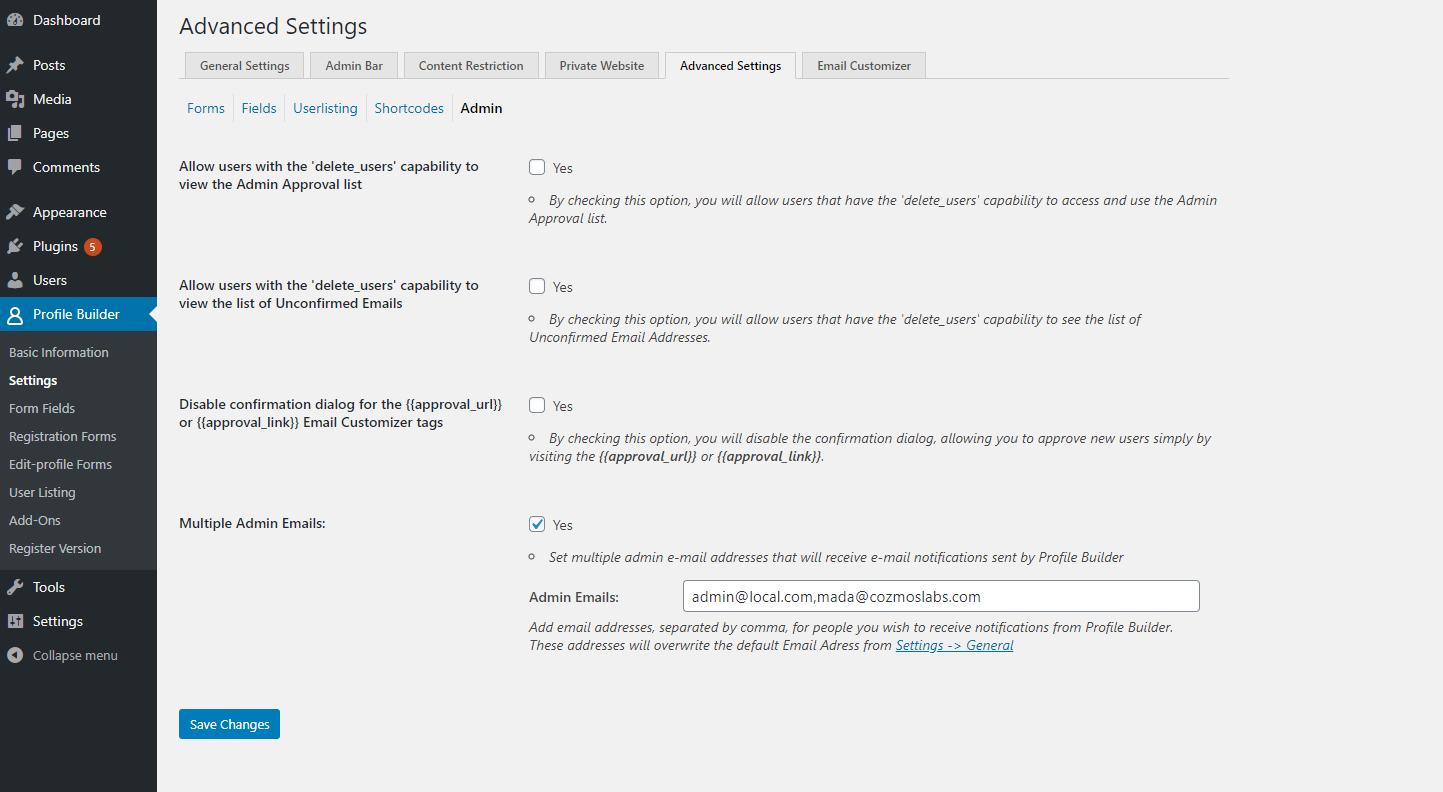 Profile Builder Pro - Multiple Admin Emails - Backend