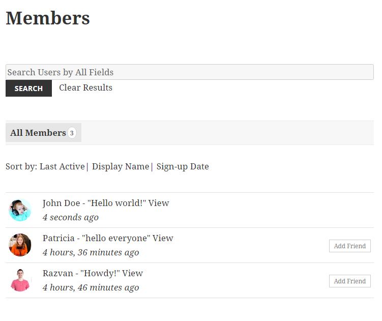 profile builder & buddypress - member listing