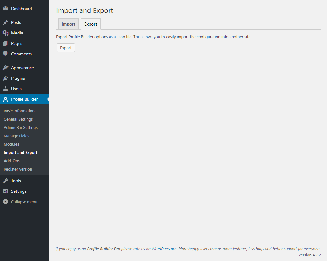 Profile Builder - Import Export - Export Tab