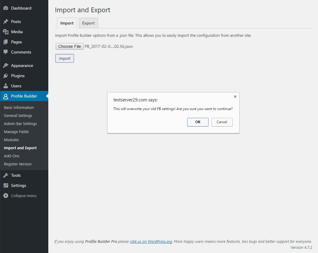 Profile Builder - Import Export - Import Tab Confirmation