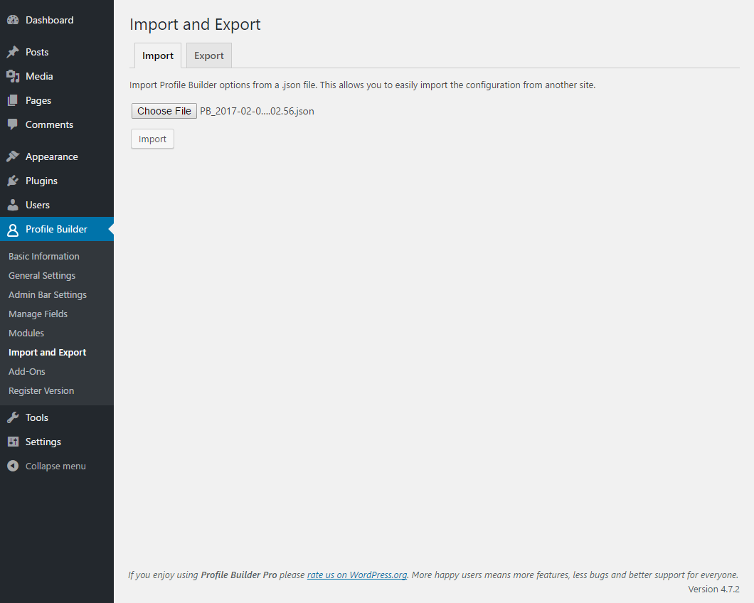 Profile Builder - Import Export - Import Tab