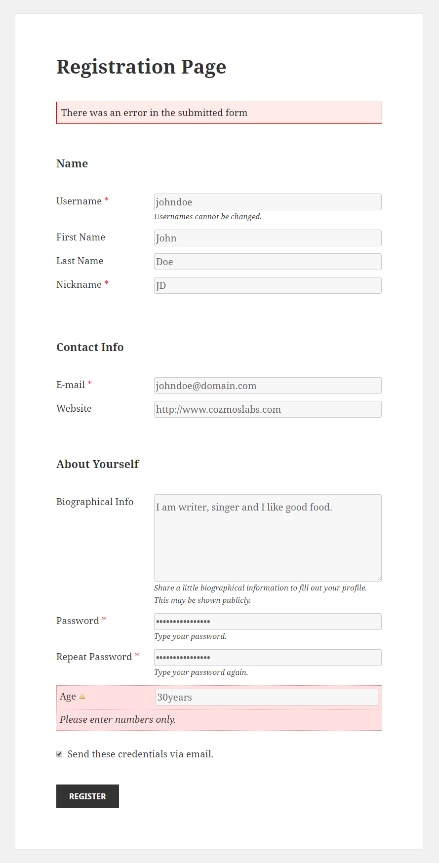 Profile Builder Pro - Numbers and Phone Validation - Number in Registraton Form