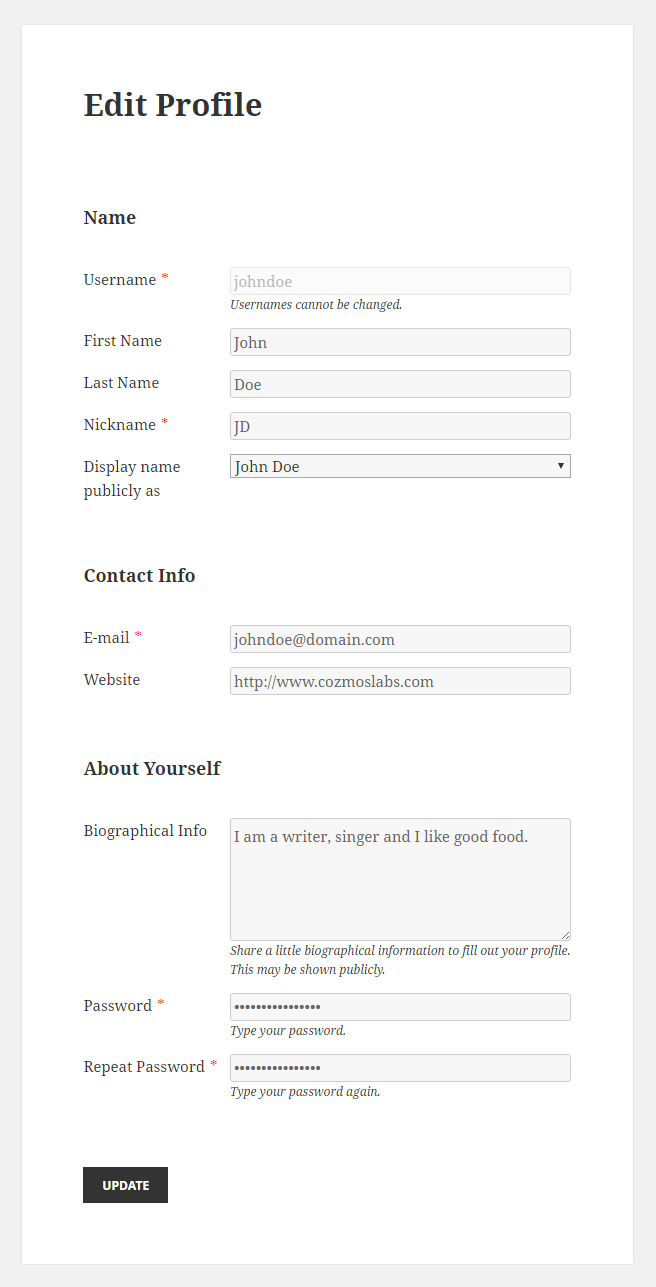 Profile Builder Pro - Shortcodes - Edit Profile Form Front End