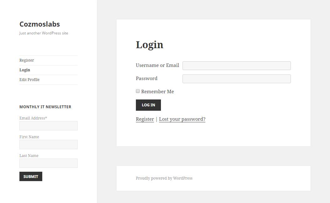 Profile Builder - MailChimp - Widget in Frontend