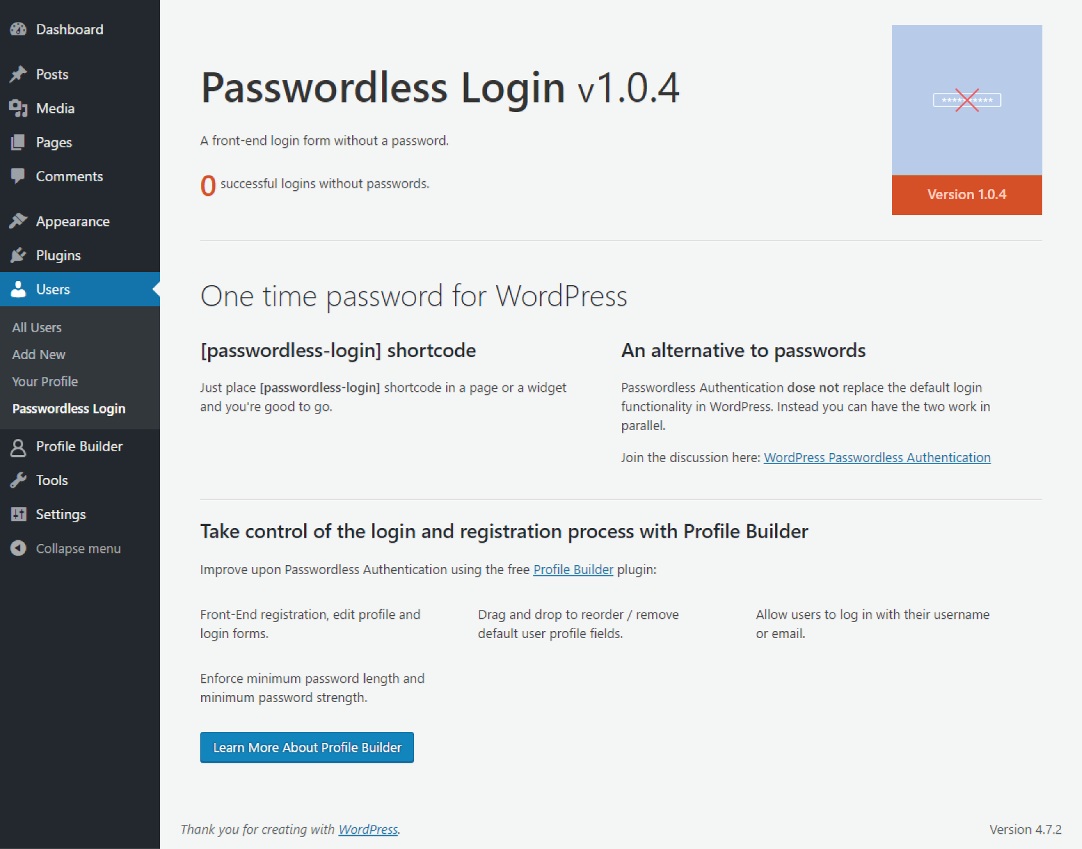 Profile Builder - Passwordless Login - Backend